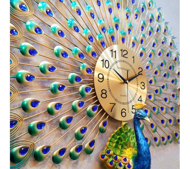 Horloge Murale en métal Paon